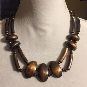 Vintage faux copper beaded necklace